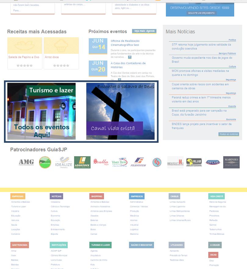 Banner no Rodapé da Inicial do Portal GuiaSJP | GUIASJP - Um serviço POW Internet