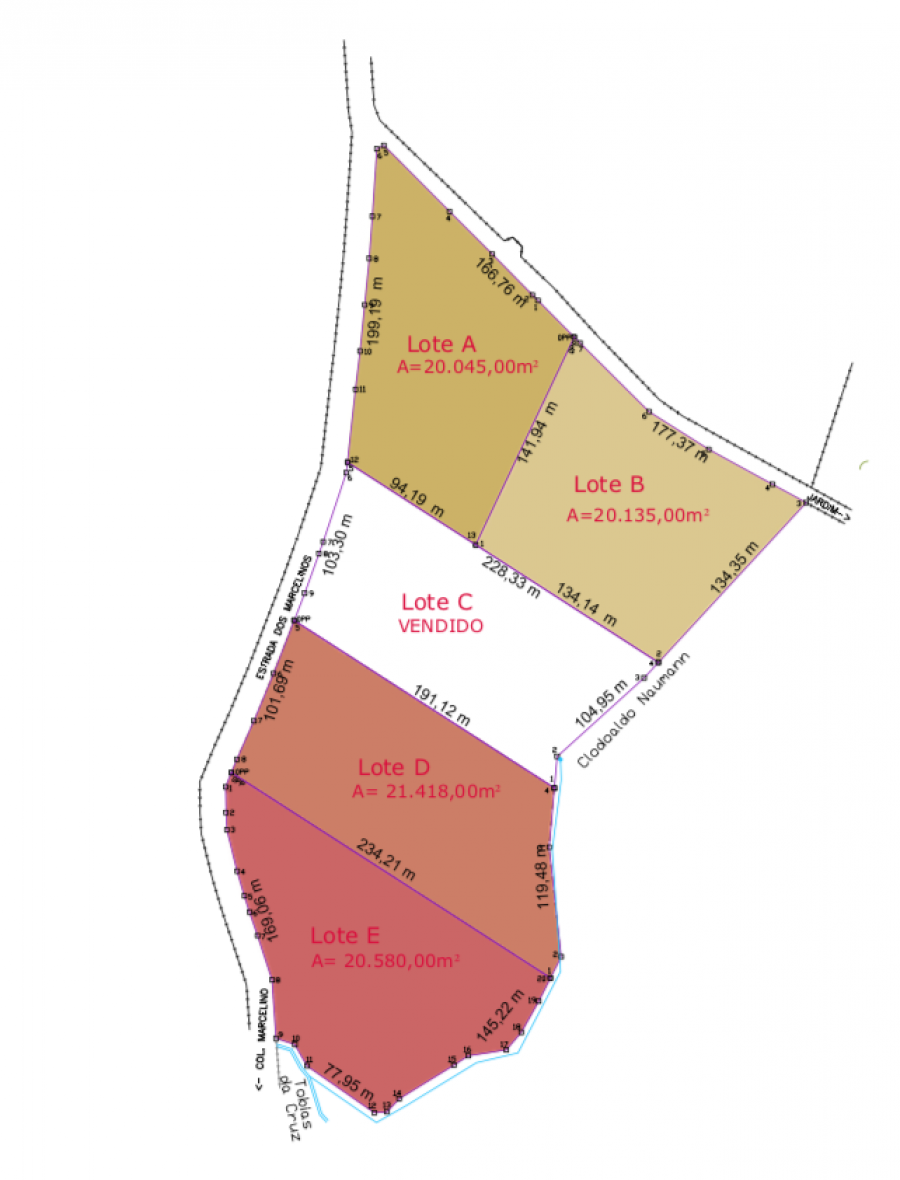 Áreas à venda no Campo Largo da Roseira