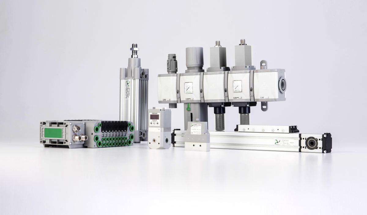 Imagem contendo vários componentes para Automação Pneumática